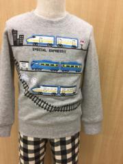 BAB CHIP [セール] ベビー服 子供服 男の子 電車 新幹線刺繍 線路プリント 裏起毛トレーナー 80cm〜130cm
