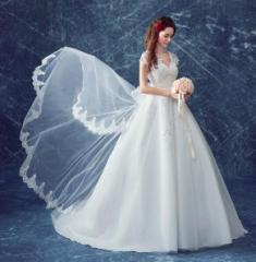 ウェディングドレス レース花柄手作り 結婚式 披露宴  司会者 舞台衣装 花嫁 写真撮 影 Vネック ロングドレス