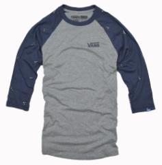 バンズ Tシャツ メンズ 七分袖 カットソー ロゴ ラグラン  vans 正規 vn02n1h4u クルーネック