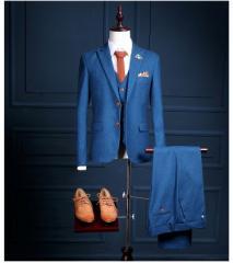 格好いいメンズスーツ 3点セット  タキシード スーツ 大きいサイズスーツ  ブルー礼服 フォーマル  二次会 結婚式 成人式 通勤