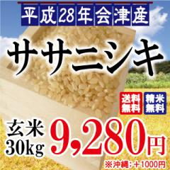 平成28年 会津産 ササニシキ 玄米 30kg ※沖縄は...