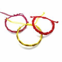 レザーと紐の編み込みブレスレット 3種セット ピンク系 赤系 黄色系 アジアン雑貨 バリ雑貨 タイ雑貨