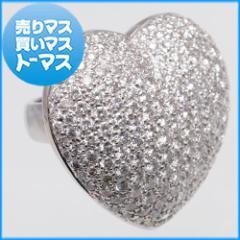 新品仕上げ済★プラチナ ダイヤモンド パヴェ ハートリング 指輪 ジュエリー アクセサリー 貴金属 宝石 レディース
