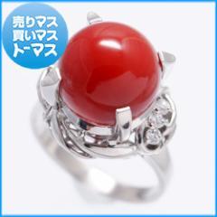 新品仕上げ済★プラチナ 珊瑚/ダイヤモンド リング 指輪 赤サンゴ コーラル 和装 レッド アクセサリー ジュエリー ノーブランド