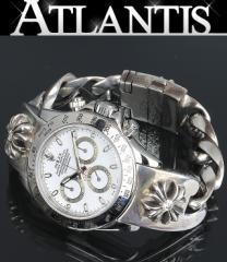 銀座 クロムハーツ ロレックス デイトナ CHプラス 純正ダイヤ ウォッチブレス 116520 白文字盤 腕時計