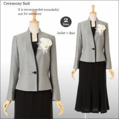 スーツ セレモニースーツ スカートスーツ ママスーツ  ミセス 40代 50代 60代 70代 スカートスーツ グレー 黒