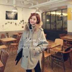 ダッフルコート 秋冬   レディースコート   ミドル丈   アウター  シンプル 韓国ファッション フェミニン フード付き 可愛い ファー付き