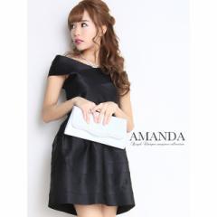 全3色 サテン調オフショルダーバンテージミニドレス キャバ ドレス キャバクラ ミニ ミニドレス フレア ワンピース 黒 白 ピンク AM