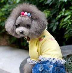 犬 犬服 ワンピース Lサイズ ドッグウェアー イエロー 女の子用 リボン付き レース入り ジュエリーTシャツ プレゼント付き!!