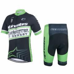 MONSTER ENERGY  サイクルジャージ上下セット/男性用自転車サイクルウェア半袖/春夏用サイクルジャージ普通タイプ ビブタイプ