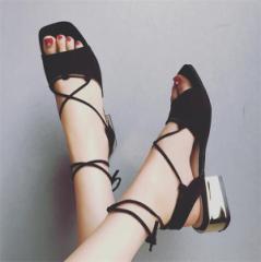 チャンキーヒール サンダル ベルトサンダル ストラップ  レディース カジュアル 太ヒール 靴 ミドルヒールサンダル 美脚 歩きやすい 女性