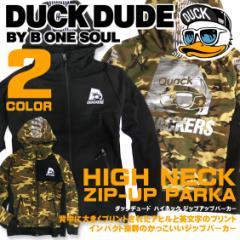 DUCK DUDE パーカー ダックデュード ジップ パーカー アヒルと英文字のプリント 袖プリント ハイネック PKL-218