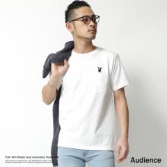 Tシャツ メンズ PLAYBOY 刺繍 半袖 プレイボーイ ポケットTシャツ クルーネック Audience AUD1877 7084