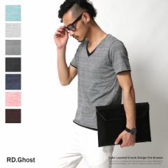 ロンT メンズ Vネック レイヤード 重ね着風 Tシャツ 半袖 カットソー RD.Ghost 4260【pre_d】