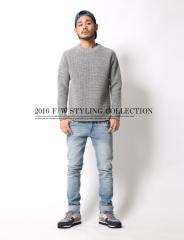 柔らかく暖かいウールを100%使用した国産の贅沢な一着。◆ミニワッフルC/Nニット メンズ セーター 日本製【コーデ】