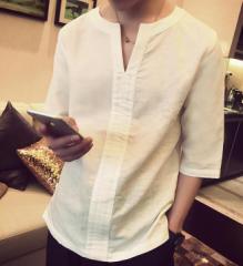 麻綿/薄手/VネックTシャツ/ゆったり感/夏用/メンズ/ロング丈ズボン/カジュアル/少年/格好いい/7分丈袖Tシャツ/トップス