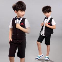 キッズ/半袖シャツ+ベスト風+半パンツ+ネクタイ/男の子/子供服/90~150cm/セットアップ/4点セット/フォーマル/スーツ風/結婚式
