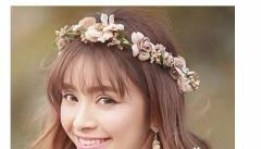 花冠 ティアラ 花輪 リゾート 造花 ヘッドドレス 髪飾り 新婚旅行 花嫁 二次会/結婚式/フェス/森ガール ボヘミア 手作り キット46