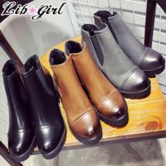 大きいサイズ 冬 靴 裏起毛 サイドゴア ショート ブーツ/8cm チャンキー ヒール(13)