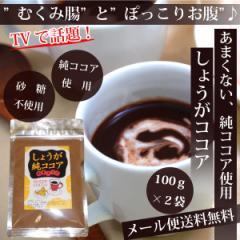 《1000円ポッキリ》【メール便送料無料】TVで話題♪しょうが純ココア(無糖)100g×2袋★甘くないしょうがココア