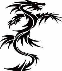 カッティングステッカー 車 バイク カワイイ オシャレ カッコイイ ワンポイント【ドラゴン 龍 トライバル 1・19(右向き)】【メール便】