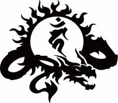 カッティングステッカー 車 バイク【干支梵字 カーン 不動明王 (酉) (とり) ドラゴン dragon 龍 (右向き)・9R サイズL】【メール便】