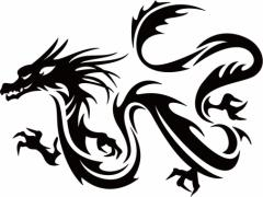カッティングステッカー 車 バイク オシャレ カッコイイ カスタム 【ドラゴン (龍) トライバル ・11(左向き) サイズL】【メール便】