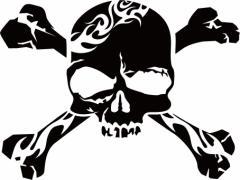カッティングステッカー 車 バイク オシャレ カッコイイ ワンポイント 目立【死神 スカル ドクロ トライバル ・11】【メール便】