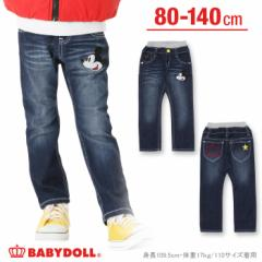 SALE50%OFF アウトレット ディズニー 刺繍デニム ロングパンツ ベビーサイズ キッズ ベビードール 子供服/DISNEY-9765K