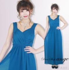 LD1612-001/キャバドレス/ターコイズブルーシンプルロングドレス