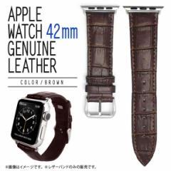 Apple Watch 42mm SERIES 1 2 3対応 レザーバンド  BI-IWC42/BR【6562】クロコ型押しレザー バンド ベルト ブラウン ブライトンネット