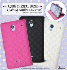 aquos crystal 305sh 手帳 レザー ケース 305sh かわいい シンプル 305sh ケース 手帳型 きれい アクオス スマホケース チェック ピンク