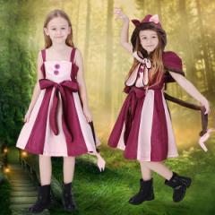 送料無料 ハロウィン 不思議の国のアリス 猫 ネコ 動物 コスプレ衣装 コスチューム 子供用 女の子 キッズ メイド服  アリスワンピース