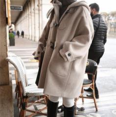 アウター 秋冬物 ロングコート フード ロング丈 大きいサイズ フードコート ベージュ 無地 おしゃれ 防寒 ゆったり コクーン S〜XXL