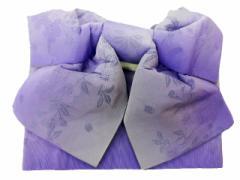 浴衣初心者でも楽々 一人で簡単に結べる 浴衣帯 軽装帯 作り帯 帯 簡単 蝶帯 淡い紫地 ボカシ 小桜 柄no2924