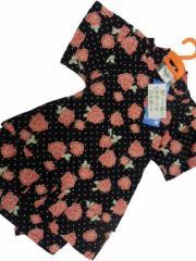 日本製 5〜6歳用 男物 子供甚平 110サイズ 黒地 バラ柄 No.29726