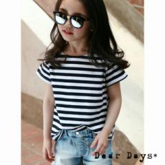 【即納】ボーダー T-シャツ 半袖 紺×白 韓国子供服 女の子 男の子 ユニセックス