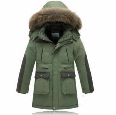 男の子ダウンジャケット キッズ ジュニア服 ダウンコート フード付き アウター 厚手 ミドル丈 暖かい 春秋冬用 防寒服