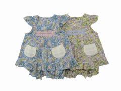 Pample Mousse(パンプルムース) 日本製  春物 ベビー服 女の子 花プリント ミルキースーツ 80 90