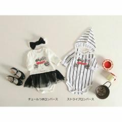 韓国子供服 ベビー ストライプロンパース 帽子セット kz-kf07031611