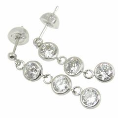 キュービックジルコニアピアスホワイトゴールドk18 ピアス揺れる 18金 レディース 宝石