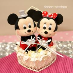【結婚式】【ブライダル】ウェディングミッキー&ミニー ハートワイヤーシルクフラワー(造花)リングピロー(造花) FL-WG-365