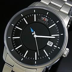 ORIENT【スタイリッシュアンドスマート】DISK メンズ腕時計 自動巻 メタルベルト ブラック文字盤  MADE IN JAPAN SER0200BB0