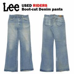 [送料無料] USED Lee 70s ライダース ブーツカット デニムパンツ W-×L- (実寸 W78cm×L81cm)(Made in USA タロン TALON 42ジッパー)