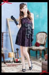 即納SALE結婚式ドレスお呼ばれワンピース総レース重ねフレアミニワンピフロントリボン[F][紫]