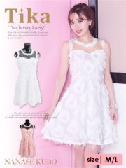 【天使になれるフェザードレス♪】【Tika ティカ】フェザーデザインフレアミニドレス