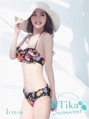 【太陽を浴びたくなるカラフルな花柄♪】【Tika ティカ】 フリルデザインカラフル花柄バンドゥビキニ