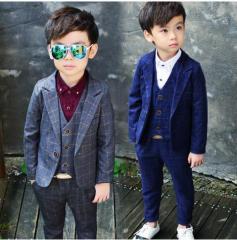 キッズ 子供スーツ 長袖ジャケットコート+ズボン 韓国風 男の子フォーマル タキシード チェック柄  ベビー3点セット