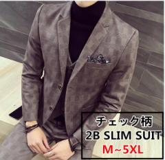 2B チェック柄 セットアップ メンズ スリム スーツスリーピース フォーマルスーツ 3ピーススーツ 大きいサイズ卒業式面接結婚式入学式