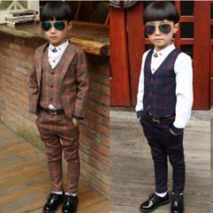 キッズ 長袖ジャケット コート+長ズボン+ベスト 男の子 スーツ フォーマル 子供 タキシード フォーマル/韓国子供服